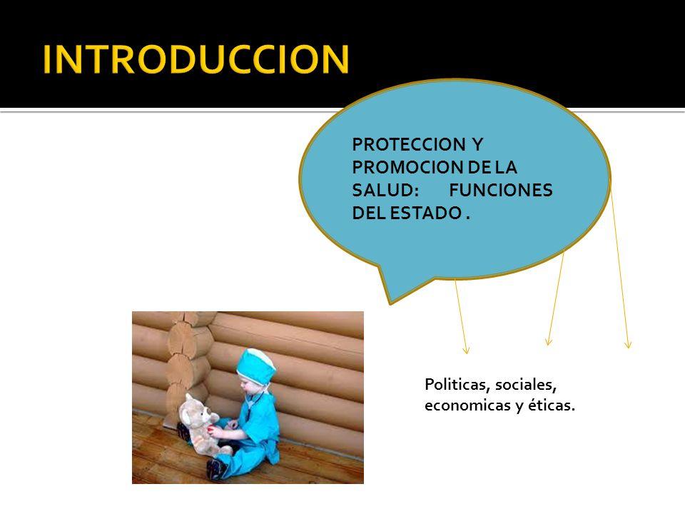 INTRODUCCION PROTECCION Y PROMOCION DE LA SALUD: FUNCIONES DEL ESTADO .