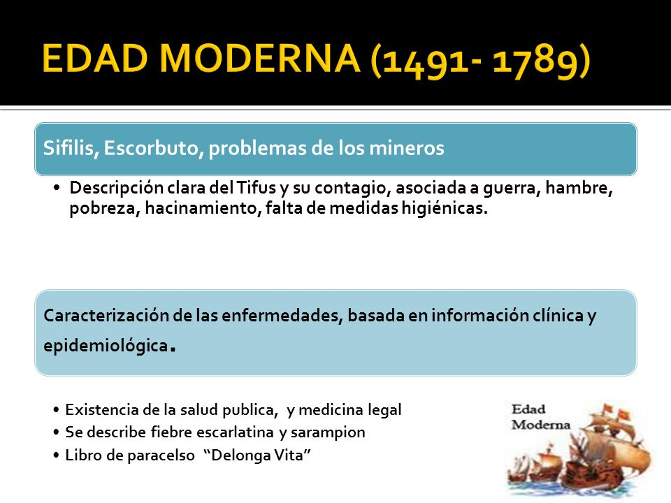 EDAD MODERNA (1491- 1789) Sifilis, Escorbuto, problemas de los mineros