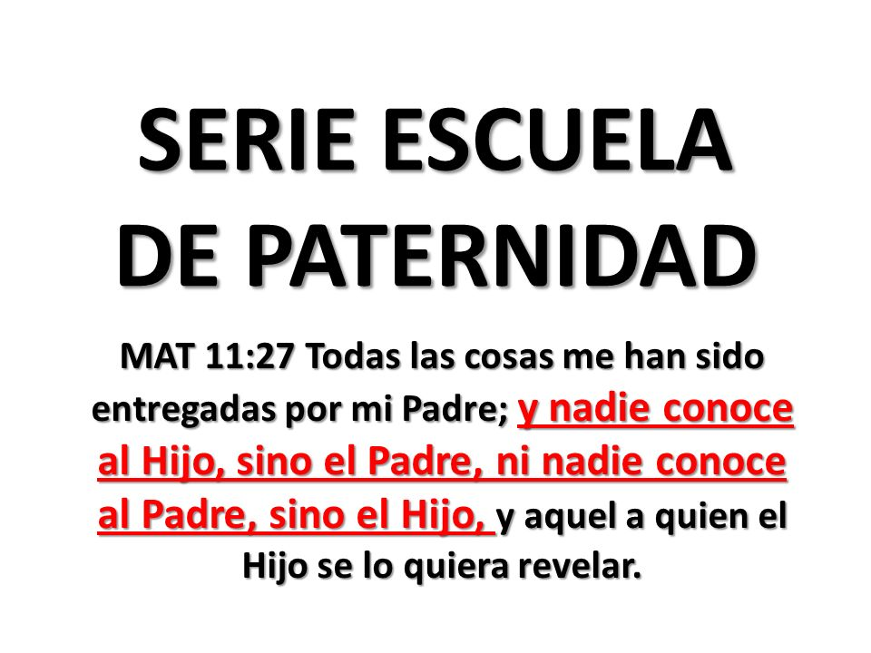 SERIE ESCUELA DE PATERNIDAD