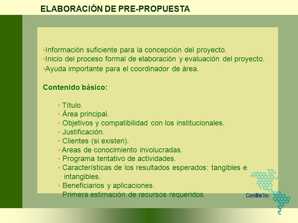 ELABORACIÓN DE PRE-PROPUESTA