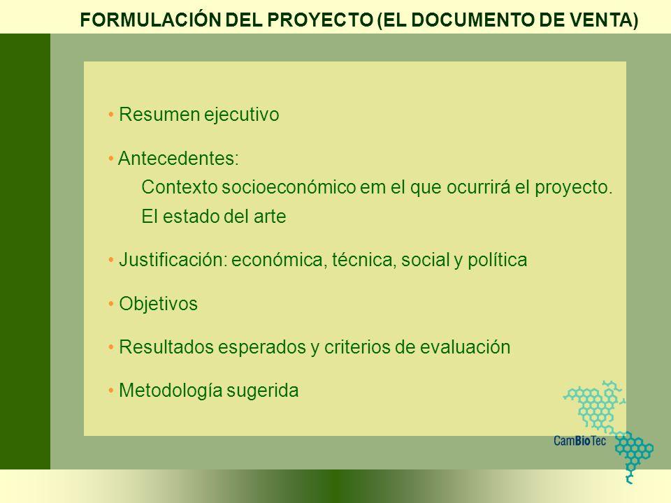 FORMULACIÓN DEL PROYECTO (EL DOCUMENTO DE VENTA)