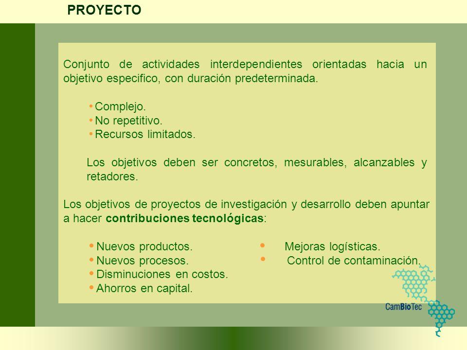PROYECTO Conjunto de actividades interdependientes orientadas hacia un objetivo especifico, con duración predeterminada.