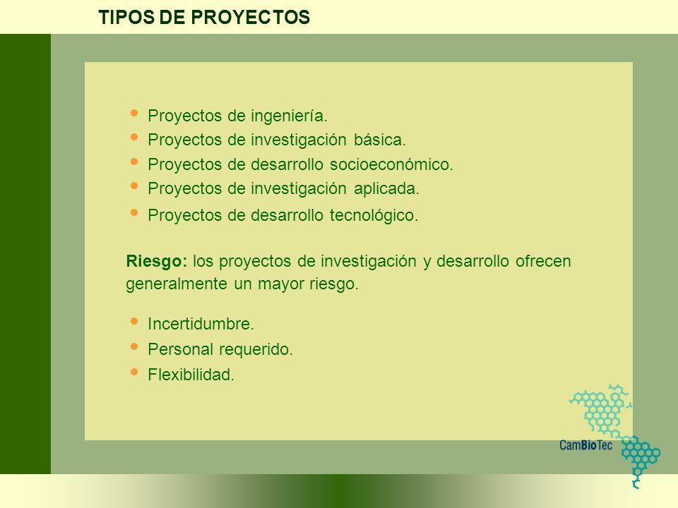 TIPOS DE PROYECTOS Proyectos de ingeniería.