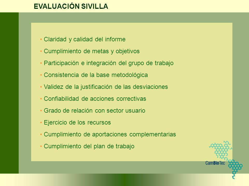 EVALUACIÓN SIVILLA Claridad y calidad del informe