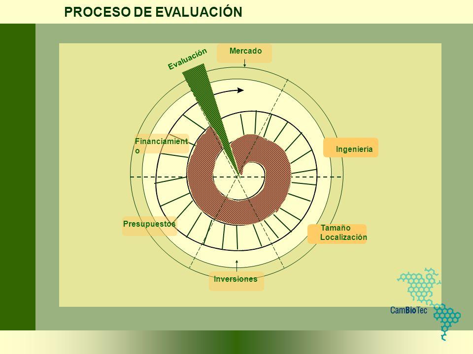 PROCESO DE EVALUACIÓN Mercado Evaluación Financiamiento Ingeniería