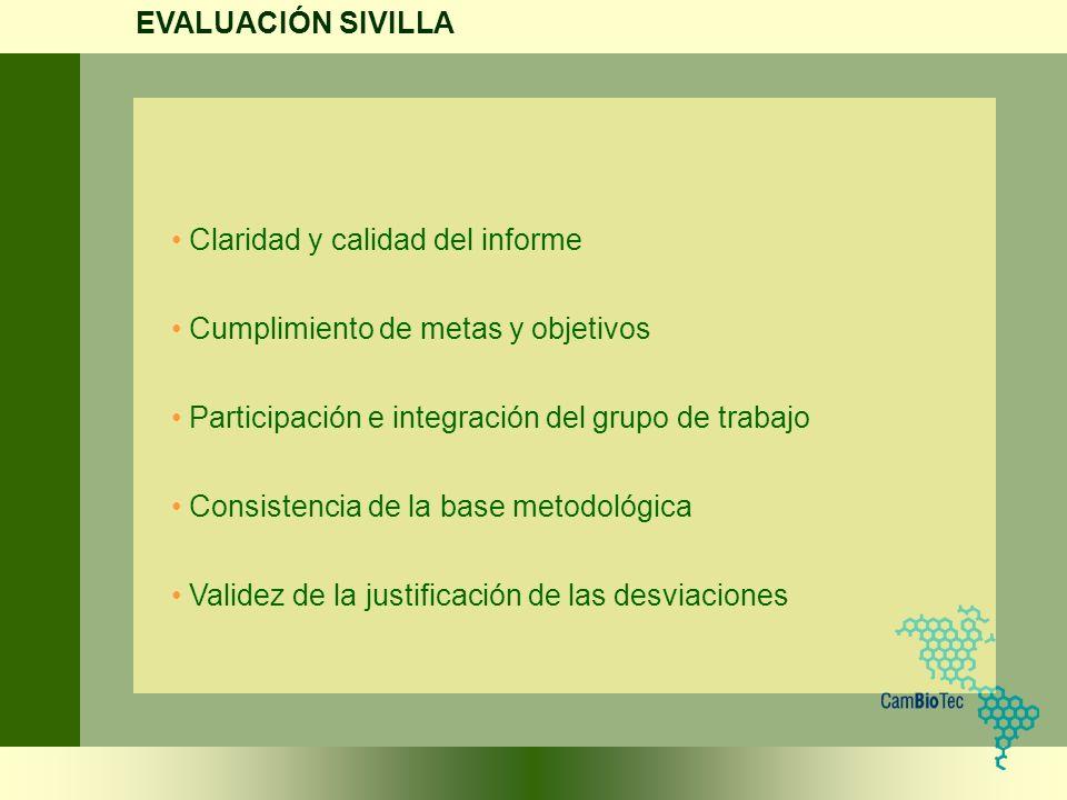 EVALUACIÓN SIVILLA Claridad y calidad del informe. Cumplimiento de metas y objetivos. Participación e integración del grupo de trabajo.