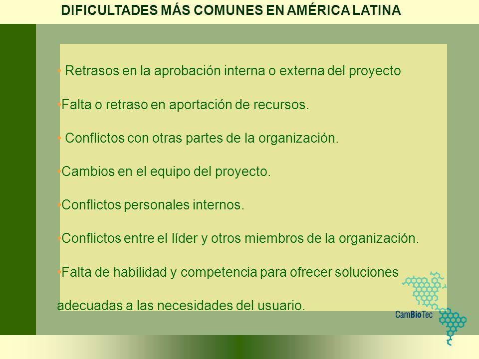 DIFICULTADES MÁS COMUNES EN AMÉRICA LATINA