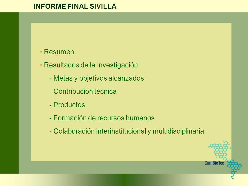 INFORME FINAL SIVILLA Resumen. Resultados de la investigación. - Metas y objetivos alcanzados. - Contribución técnica.