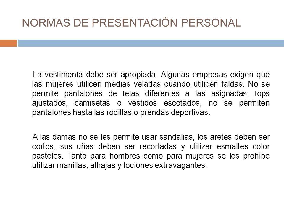 NORMAS DE PRESENTACIÓN PERSONAL