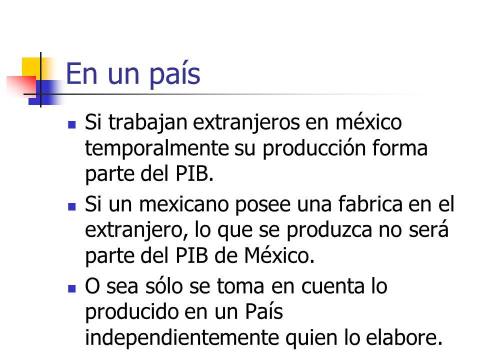 En un país Si trabajan extranjeros en méxico temporalmente su producción forma parte del PIB.