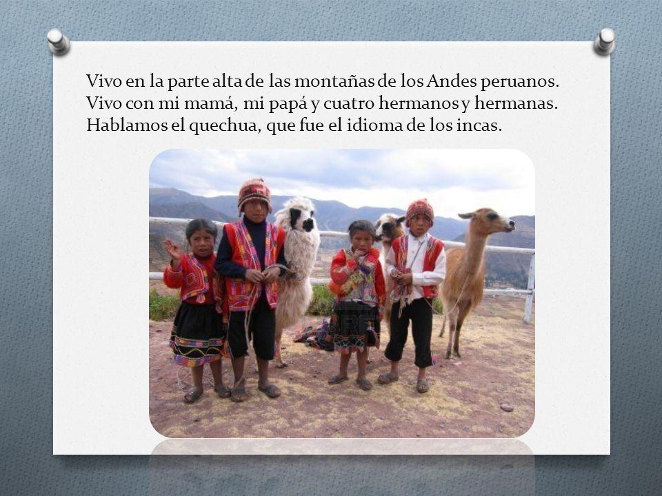 Vivo en la parte alta de las montañas de los Andes peruanos