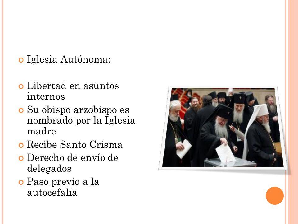 Iglesia Autónoma: Libertad en asuntos internos. Su obispo arzobispo es nombrado por la Iglesia madre.