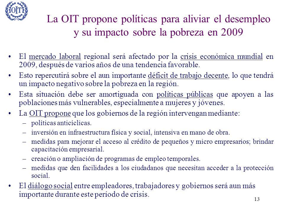 La OIT propone políticas para aliviar el desempleo y su impacto sobre la pobreza en 2009
