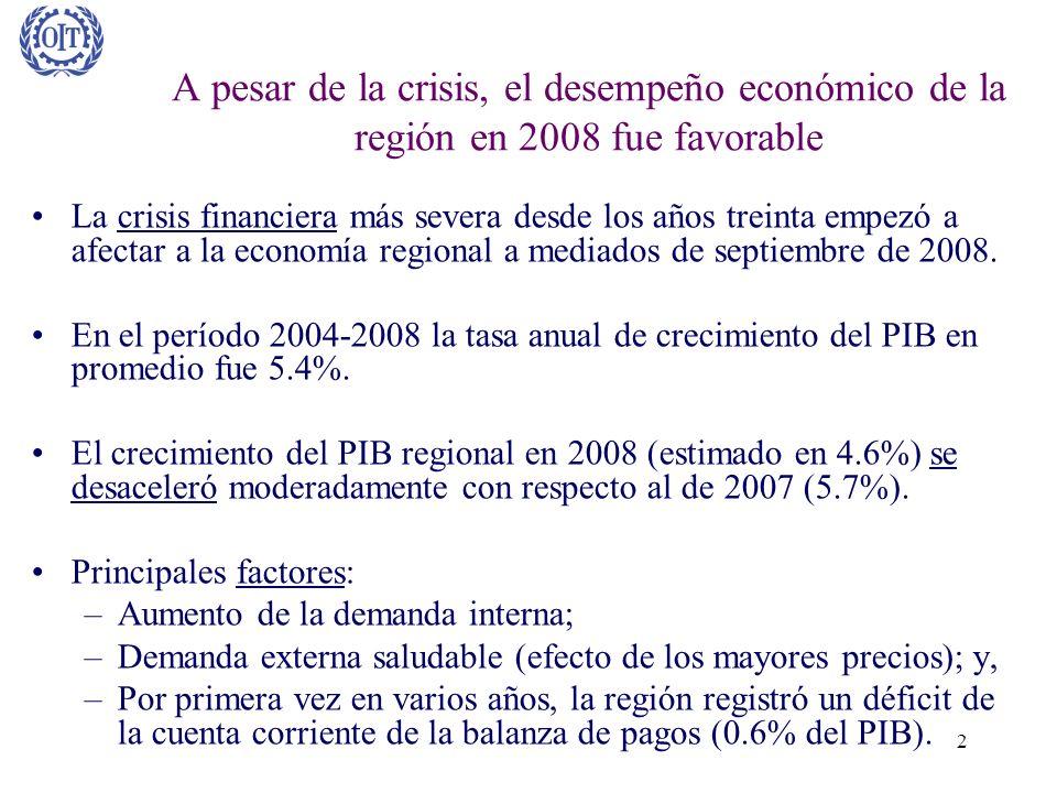 A pesar de la crisis, el desempeño económico de la región en 2008 fue favorable