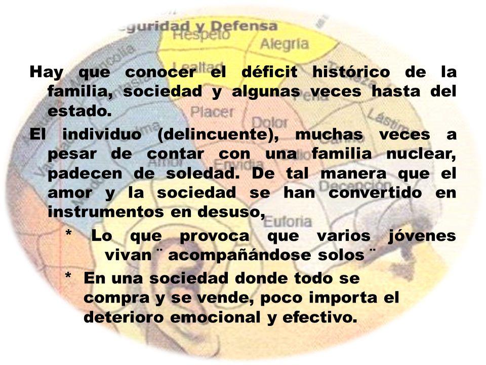 Hay que conocer el déficit histórico de la familia, sociedad y algunas veces hasta del estado.