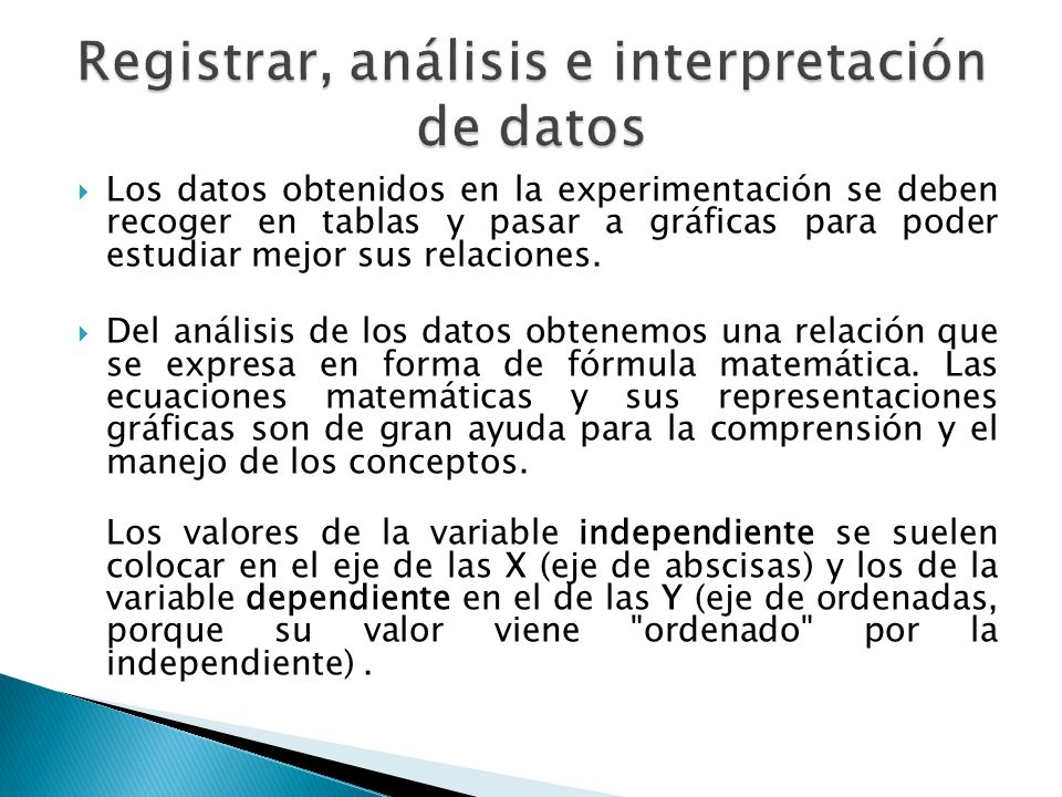 Registrar, análisis e interpretación de datos