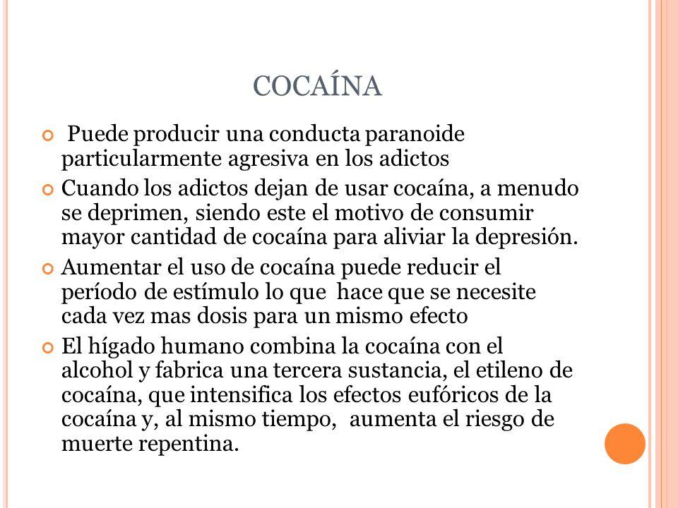 COCAÍNA Puede producir una conducta paranoide particularmente agresiva en los adictos.