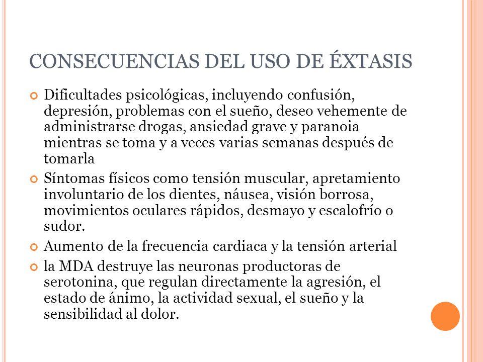 CONSECUENCIAS DEL USO DE ÉXTASIS