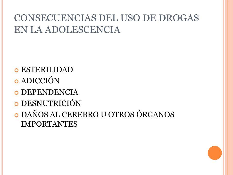 CONSECUENCIAS DEL USO DE DROGAS EN LA ADOLESCENCIA