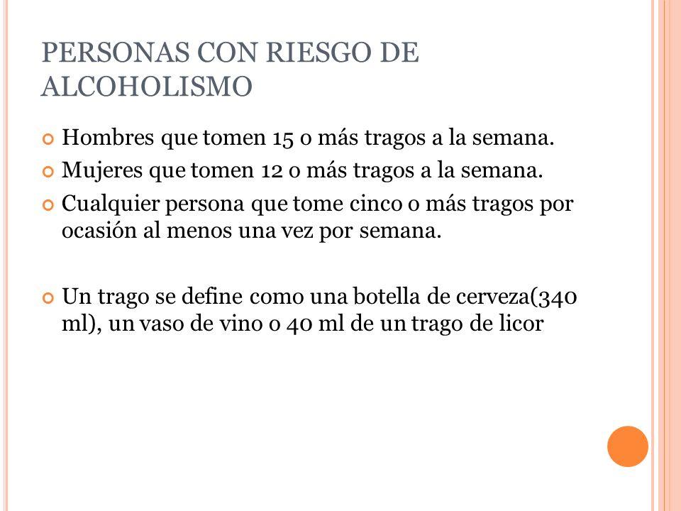 PERSONAS CON RIESGO DE ALCOHOLISMO