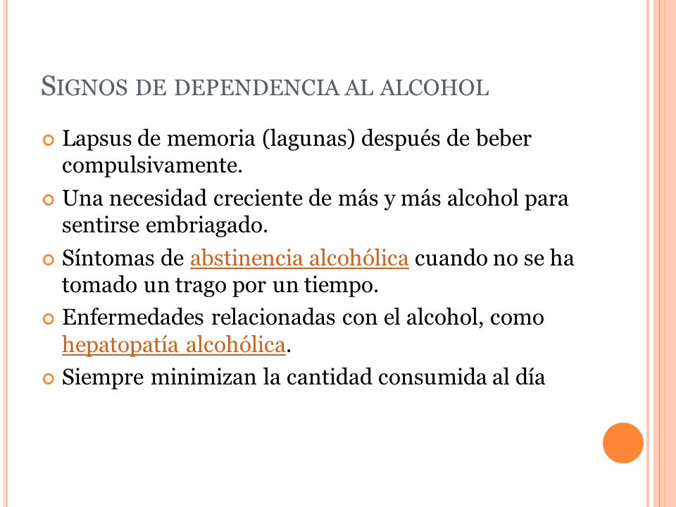 Signos de dependencia al alcohol