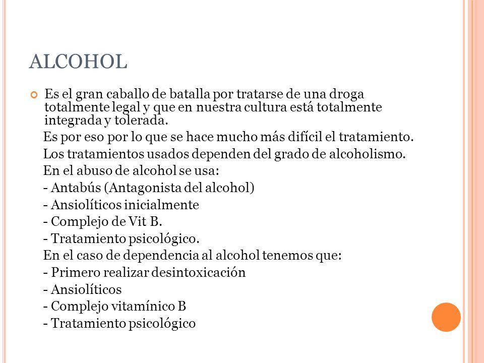 ALCOHOL Es el gran caballo de batalla por tratarse de una droga totalmente legal y que en nuestra cultura está totalmente integrada y tolerada.