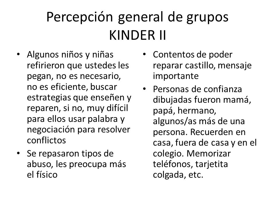 Percepción general de grupos KINDER II