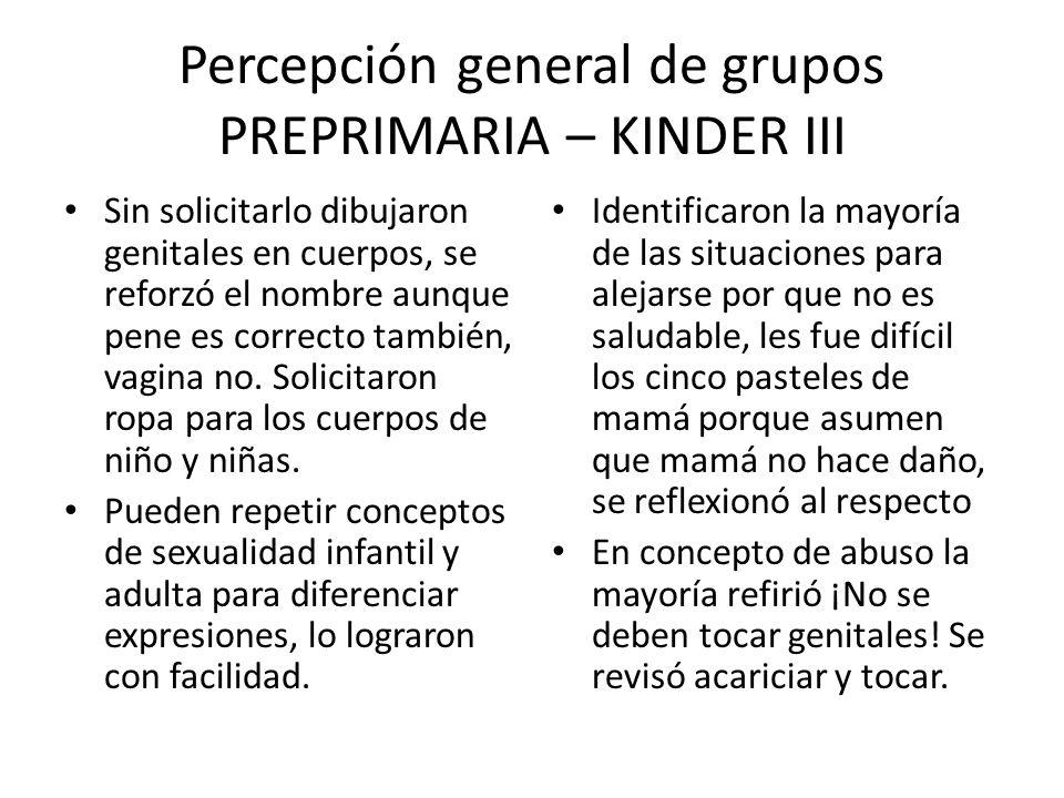 Percepción general de grupos PREPRIMARIA – KINDER III
