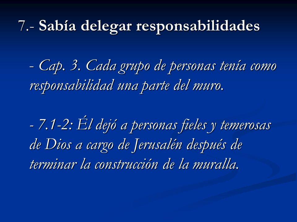 7. - Sabía delegar responsabilidades - Cap. 3
