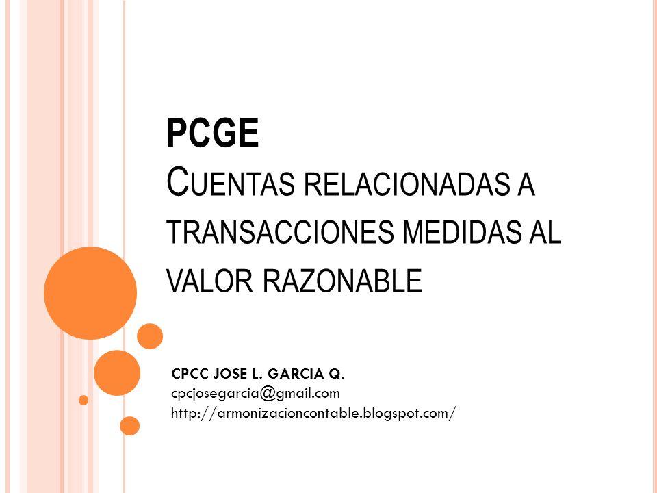 PCGE Cuentas relacionadas a transacciones medidas al valor razonable