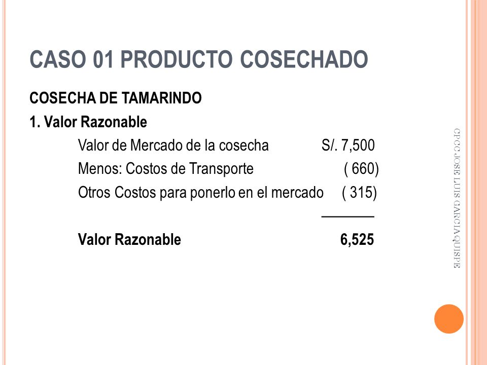 CASO 01 PRODUCTO COSECHADO
