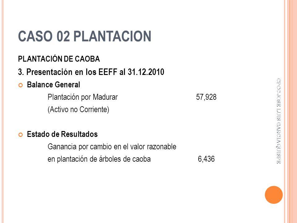 CASO 02 PLANTACION 3. Presentación en los EEFF al 31.12.2010