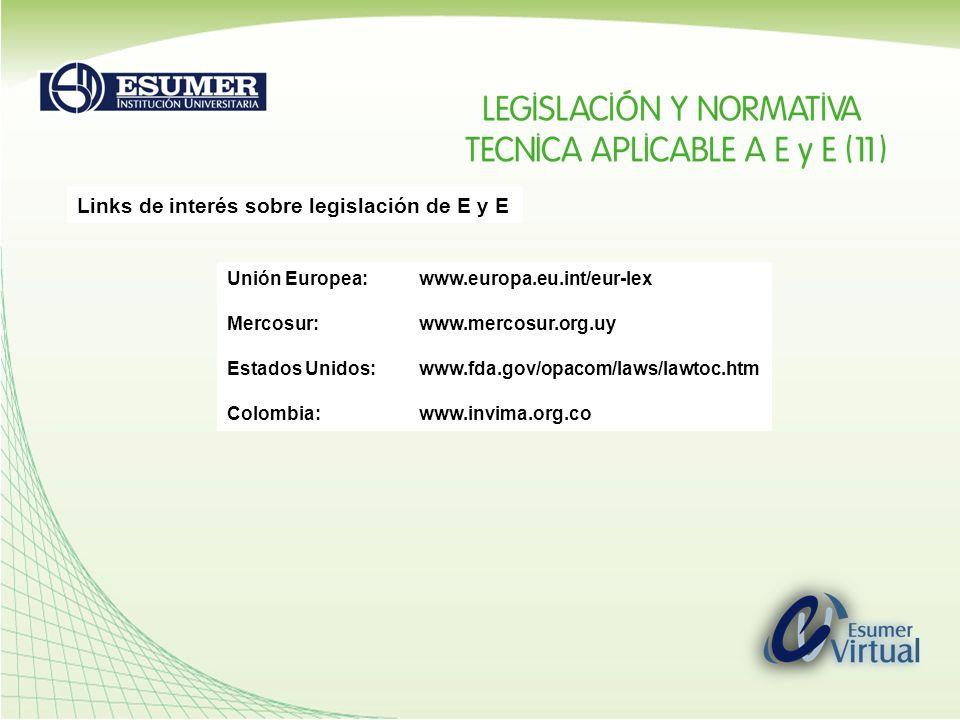 Links de interés sobre legislación de E y E