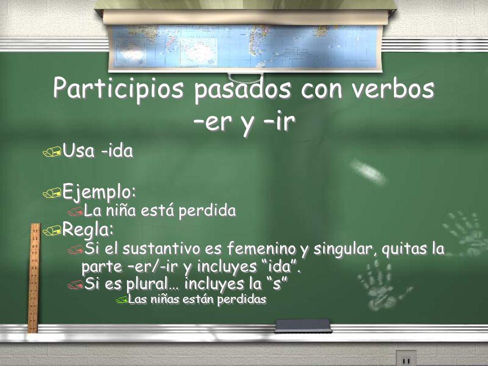 Participios pasados con verbos –er y –ir