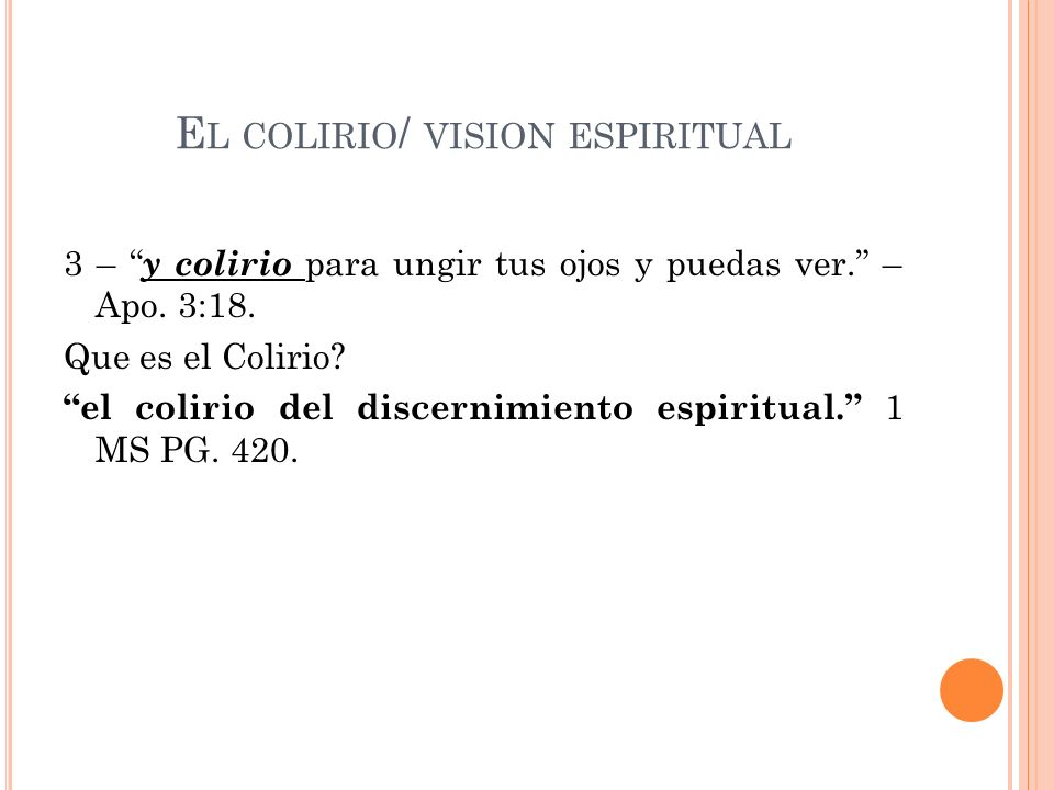 El colirio/ vision espiritual