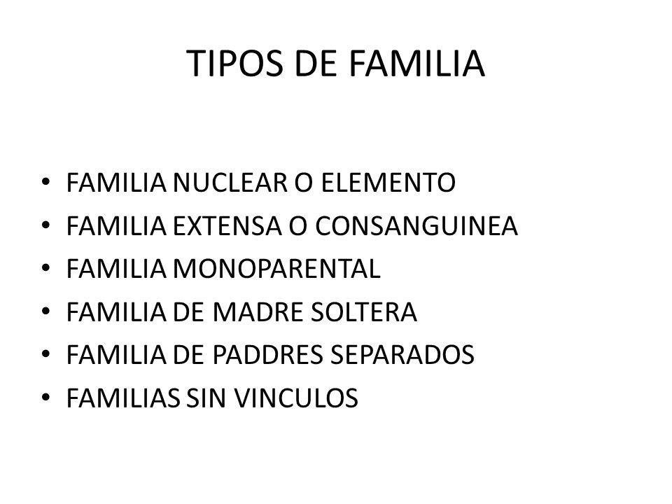 TIPOS DE FAMILIA FAMILIA NUCLEAR O ELEMENTO