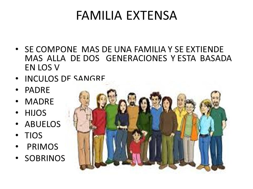 FAMILIA EXTENSA SE COMPONE MAS DE UNA FAMILIA Y SE EXTIENDE MAS ALLA DE DOS GENERACIONES Y ESTA BASADA EN LOS V.