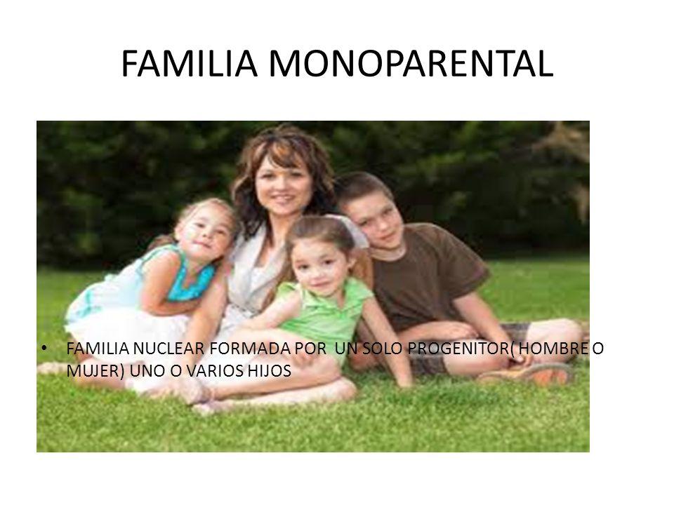 FAMILIA MONOPARENTAL FAMILIA NUCLEAR FORMADA POR UN SOLO PROGENITOR( HOMBRE O MUJER) UNO O VARIOS HIJOS.