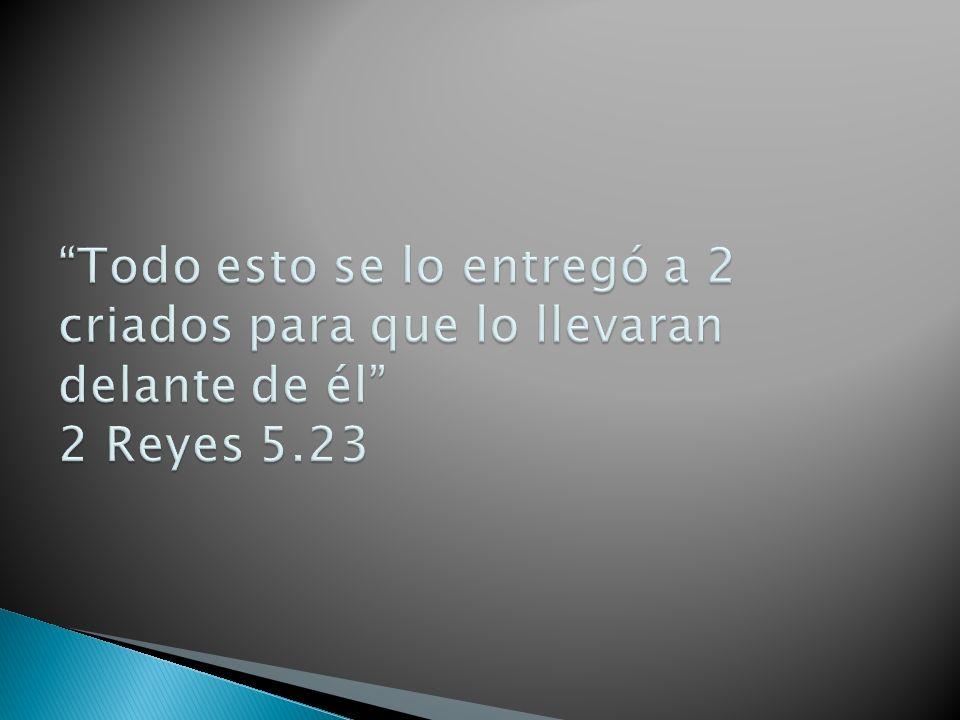 Todo esto se lo entregó a 2 criados para que lo llevaran delante de él 2 Reyes 5.23
