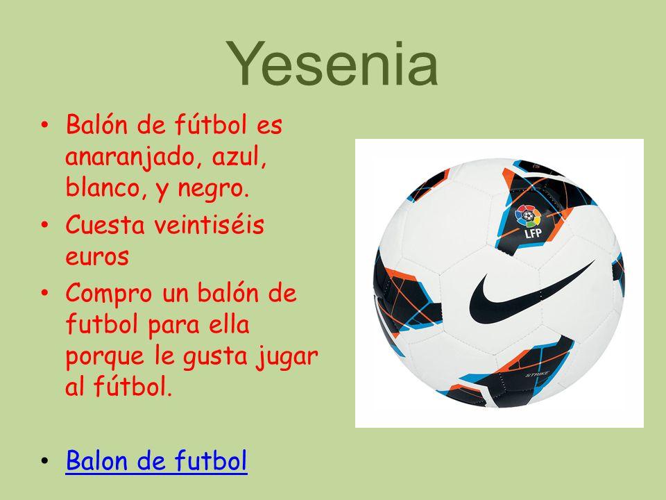 Yesenia Balón de fútbol es anaranjado, azul, blanco, y negro.