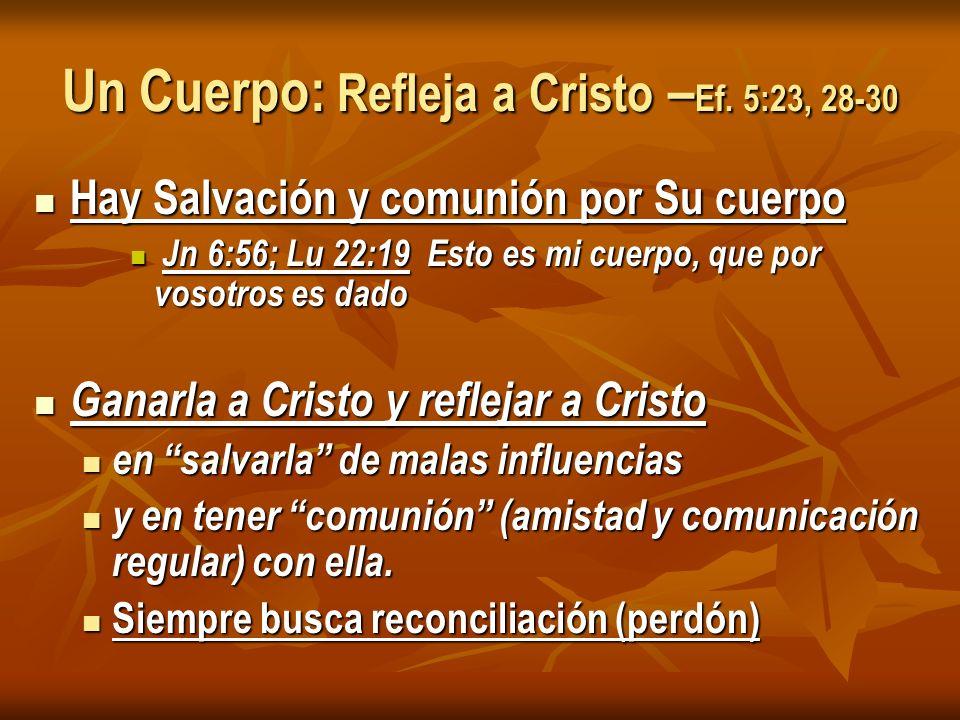 Un Cuerpo: Refleja a Cristo –Ef. 5:23, 28-30