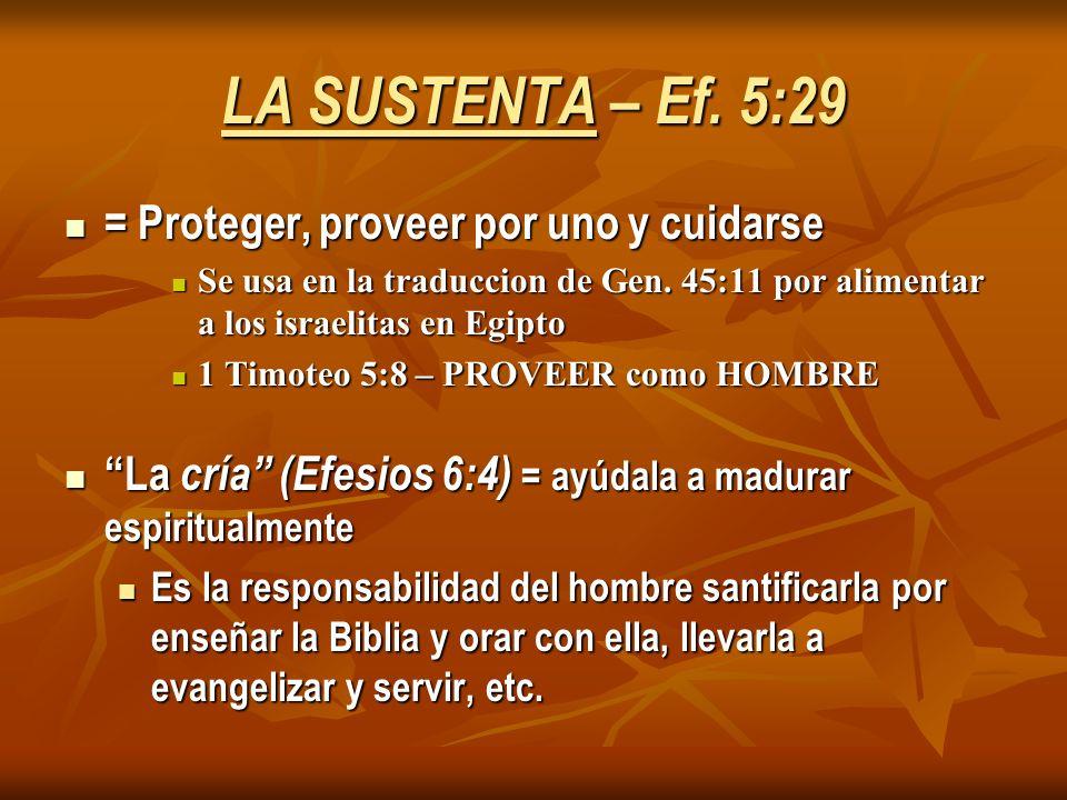 LA SUSTENTA – Ef. 5:29 = Proteger, proveer por uno y cuidarse