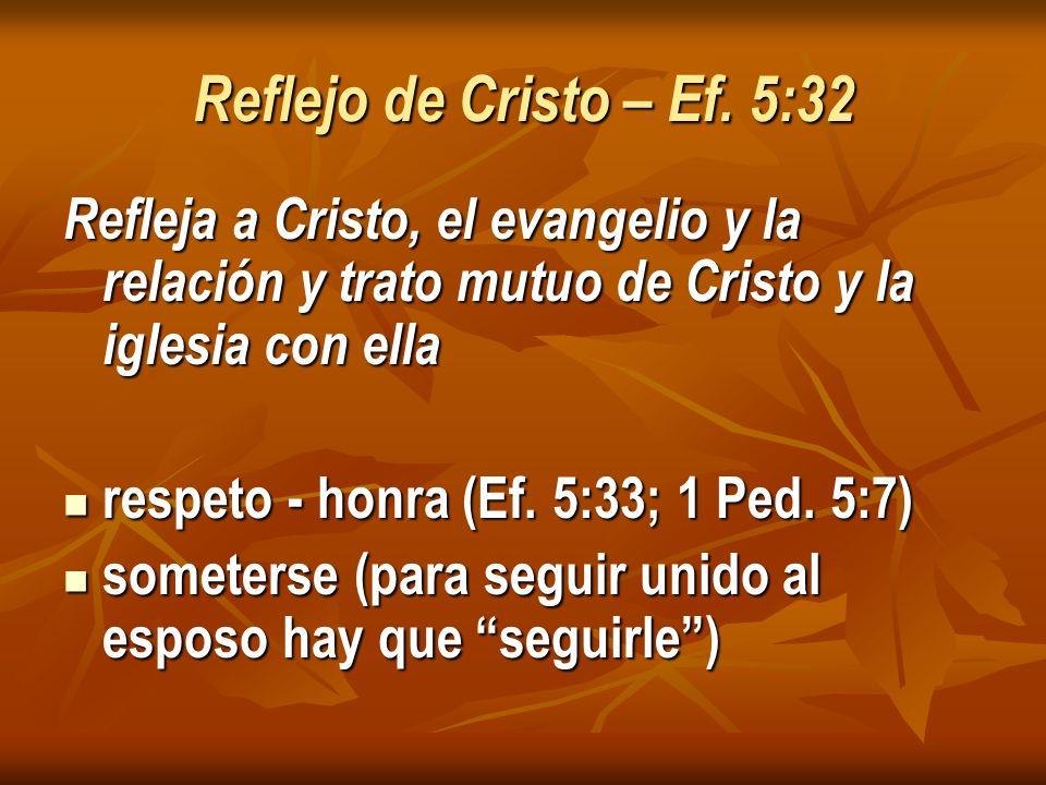 Reflejo de Cristo – Ef. 5:32 Refleja a Cristo, el evangelio y la relación y trato mutuo de Cristo y la iglesia con ella.