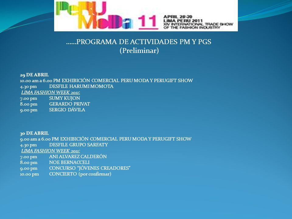 ……PROGRAMA DE ACTIVIDADES PM Y PGS (Preliminar)