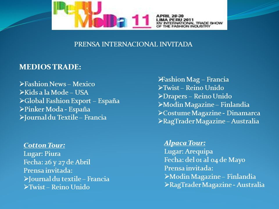 MEDIOS TRADE: PRENSA INTERNACIONAL INVITADA Fashion News – Mexico