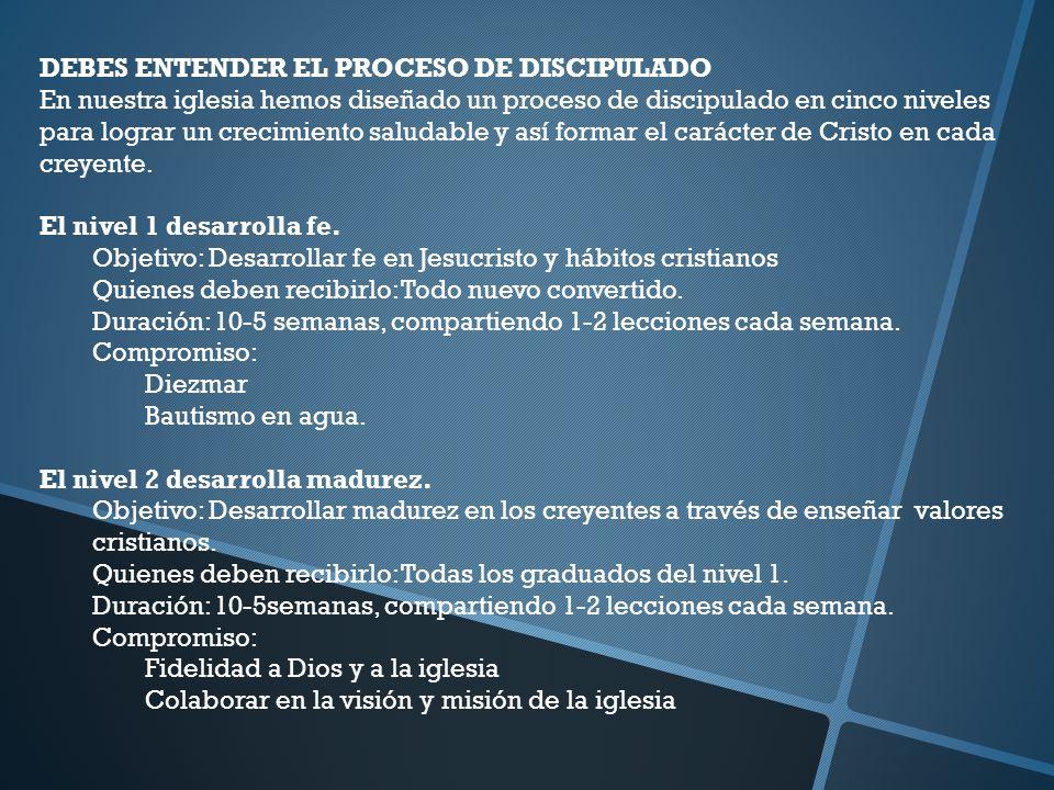 DEBES ENTENDER EL PROCESO DE DISCIPULADO