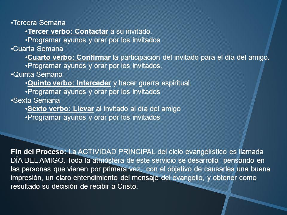 Tercera Semana Tercer verbo: Contactar a su invitado. Programar ayunos y orar por los invitados. Cuarta Semana.