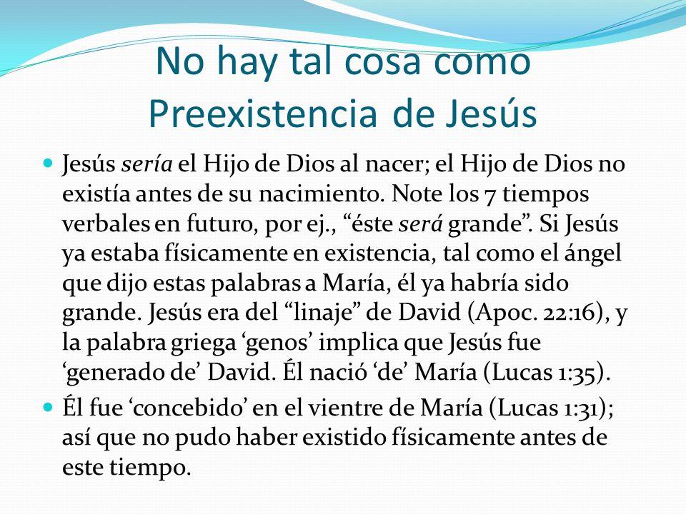No hay tal cosa como Preexistencia de Jesús