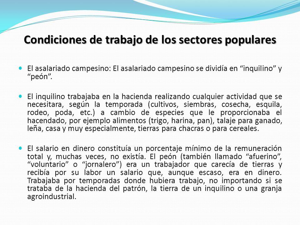 Condiciones de trabajo de los sectores populares