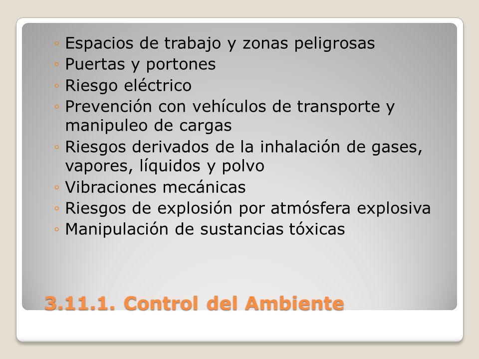3.11.1. Control del Ambiente Espacios de trabajo y zonas peligrosas